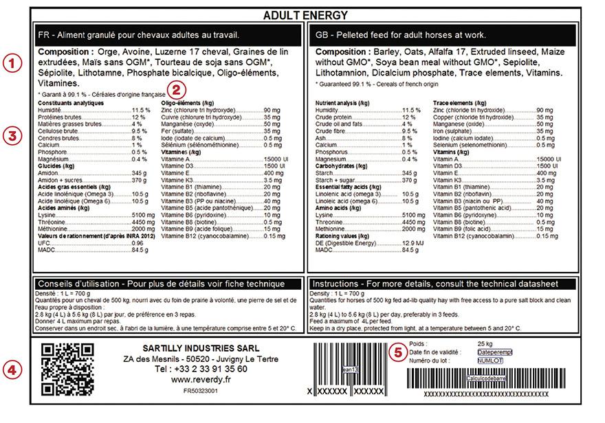 Étiquette - Reverdy Adult Energy
