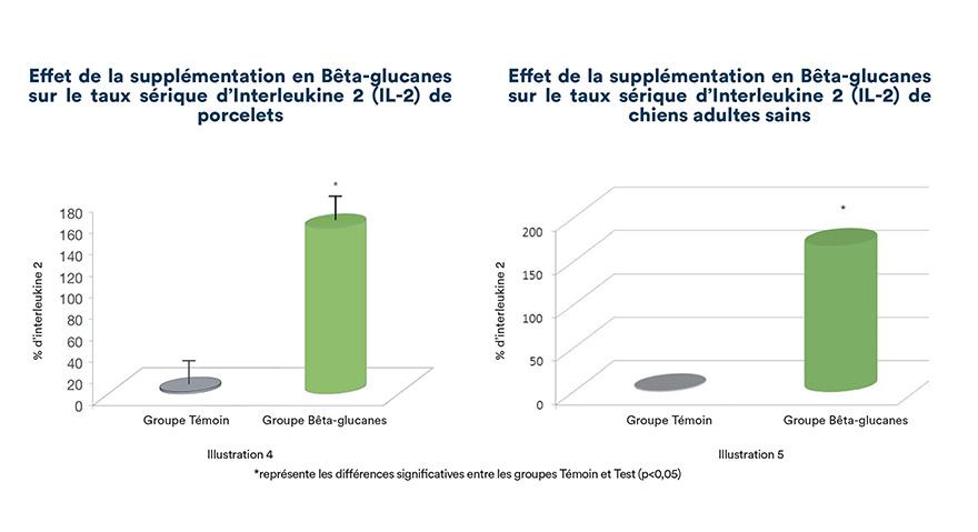 Effet de la supplémentation en bêta-glucanes sur le taux sérique d'Interleukine-2 (IL-2) de porcelets et de chiens adultes sains.