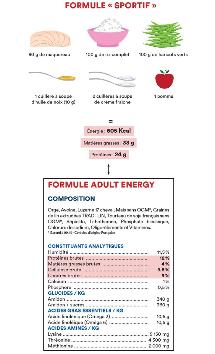 Formule de l'Adult Energy = Formule « Sportif »