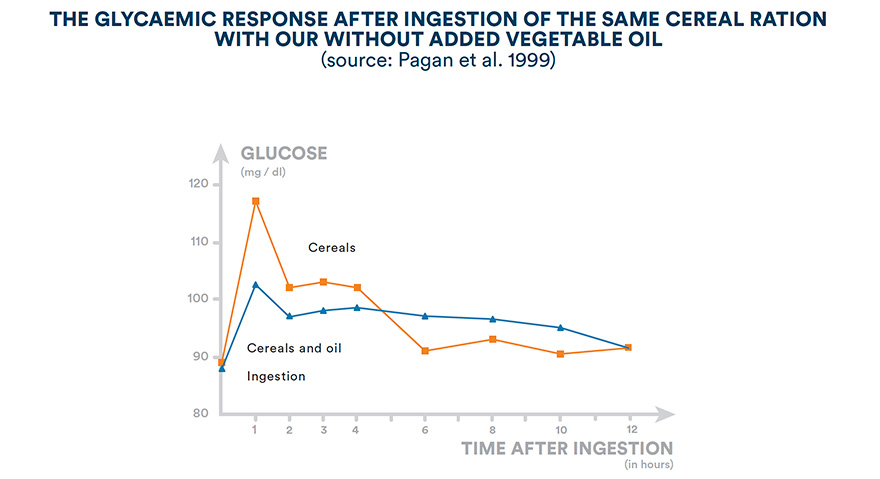 The glycaemic response after ingestion of ther same cereal ration with or withour added vegetable oil