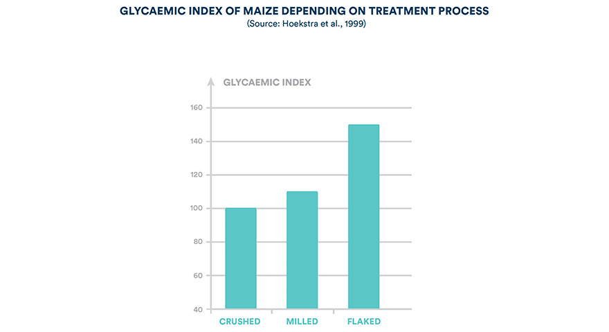 Glycaemic index of maize depending on treatment process